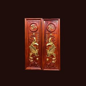 Tranh lý ngư vọng nguyệt gỗ hương thếp vàng 107x37x3cm