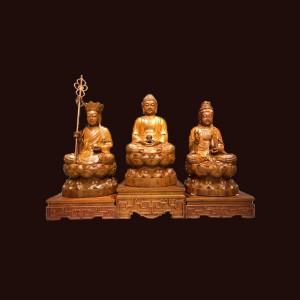 Tượng Tam Thánh gỗ hương 101x60x50cm