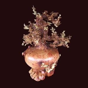 Bình phú quý hoa mai gỗ nu hương cao 90x55x49cm