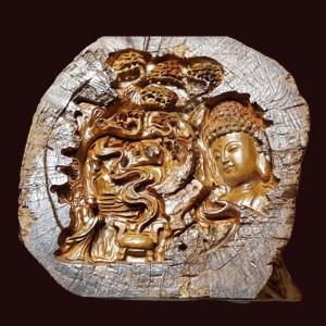 Diện Phật Thích Ca Gỗ Lũa Bách Xanh 44x42x7cm