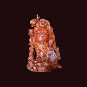 Tượng Di Lặc gỗ cẩm chỉ Gia Lai 71x43x31cm