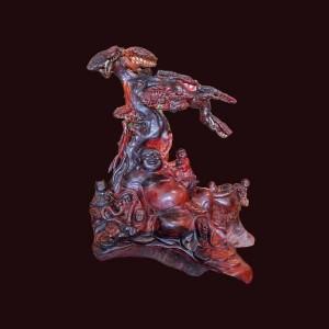 Tượng Di Lặc gỗ trắc đỏ đen Gia Lai 53x48x35cm
