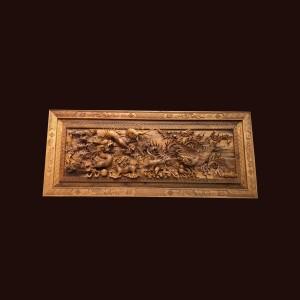 Tranh tứ linh gỗ bách xanh 168x70x9cm