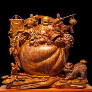 Tượng Phật Di Lặc Cửu Tặc Gỗ Nu Hương 68x79x23cm
