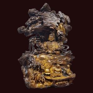 Tượng bái phật Thích Ca gỗ lũa Bách xanh Kt: 74x57x23cm