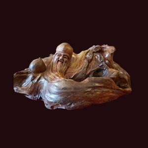 Tượng Thọ đào gỗ lũa bách xanh Sơn La 23x55x29cm