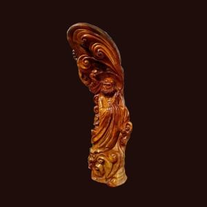 Tượng Đạt Ma gỗ lũa sụn hương Gia Lai 117x41x31cm
