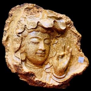 Diện Phật Quan Âm Gỗ Nu Ngọc Am 36x39x7cm