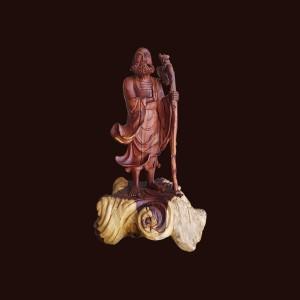 Tượng Đạt Ma gỗ cẩm chỉ tím 81x47x48cm