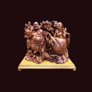 Tượng di lặc gỗ nu hương 45x75x20 cm