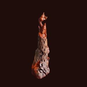 Tượng Tế Công gỗ lũa hương 81x35x30cm