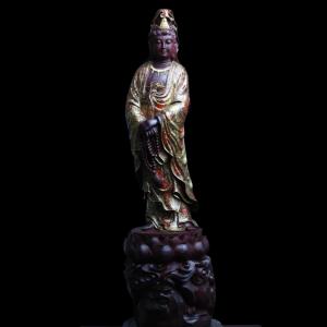 Tượng Quan Âm Bồ Tát Gỗ Tử Đàn Vẽ Gấm 58x16x16cm
