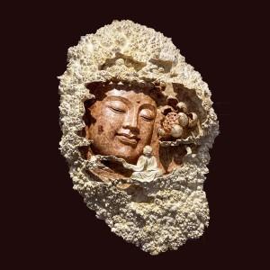 Diện Phật AdiĐà Gỗ Nu Hương 87x58x14cm