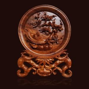 Đĩa gỗ Hương chim Trĩ hoa Mai