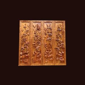 Tranh tứ quý gỗ bách xanh Sơn La