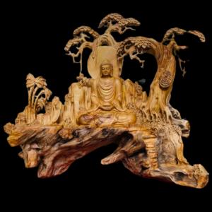 Tượng Nhất Tâm Bái Phật Gỗ Nhai Bách 90x100x40cm