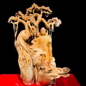 Tượng Nhất Tâm Bái Phật Gỗ Nhai Bách 116x80x60cm