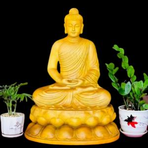 Tượng Phật Thích Ca Ngồi Đài Sen Gỗ Gõ Vàng 60x46x36cm