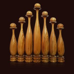 Bộ 9 bình gỗ Thủy Tùng vàng