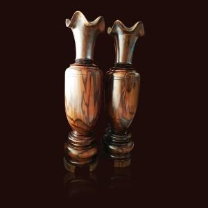 Lộc bình gỗ Chiu Liu bông 140x37cm