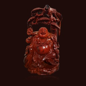 Tượng Di Lặc gỗ Hương đỏ 58x16x37cm
