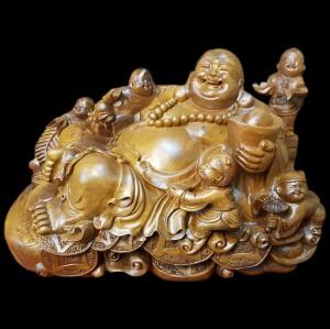 Tượng Phật Di Lặc Ngũ Phúc Gỗ Bách Xanh 36x55x30cm