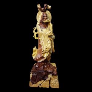 Tượng Đạt Ma Khất Thực Gỗ Cẩm Chỉ 75x27x21cm