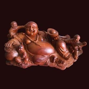 Tượng Di Lặc gỗ hương 22,5x58x30cm
