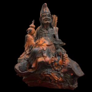 Tượng Tế Công Gỗ Trắc Đỏ Đen Gia Lai 33x25x18cm